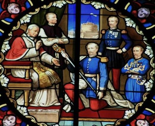 Pape vitrail général de la moricière mettant son épée au service de pie IX
