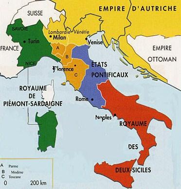 Carte italie 1860